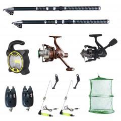 Set pescuit sportiv 2 lansete Ultra Carp 3,6m, proiector solar, 2 mulinete, 2 senzori si accesorii