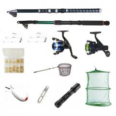 Set pescuit cu 2 lansete 2,4m, doua mulinete, minciog, ace, juvelnic, lanterna led,monturi