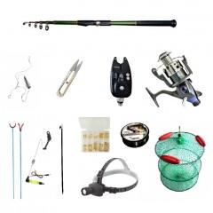 Set pescuit sportiv cu lanseta carbon 3m cool angel, mulineta baitrunner bobo2000 si accesorii