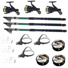 Set pescuit cu 3 lansete 2.7m eastshark, 3 mulinete dpr200, 3 lanterne frontale led, gute si monturi