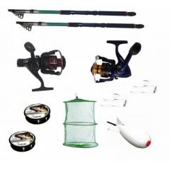 Pachet de pescuit sportiv cu 2 lansete de pescuit 2,4 metrii, 2 mulinete, 2 gute, monturi