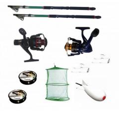 Pachet de pescuit sportiv cu 2 lansete de pescuit 3.6m , 2 mulinete, 2 gute, monturi