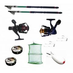 Pachet de pescuit sportiv cu 2 lansete de pescuit, 2 mulinete, 2 gute, monturi