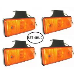 Set 4 lampi de gabarit cu suport, 12v-24v lumina galbena,  4 smd + ochi de pisica