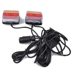 set 2 lampi led 12v cu prindere magetica si cablu 7.5m cu priza pentru remorca