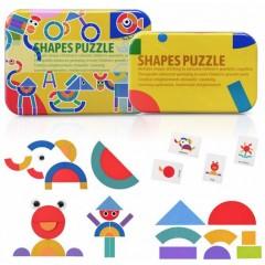 Jucarie educativa puzzle forme geometrice din lemn