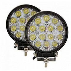 Set de doua proiectoare LED auto offroad, 42W, 12V-24V, 3080 lumeni rotunde