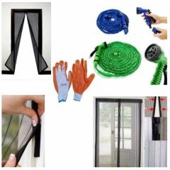 Furtun extensibil + accesorii pentru stropit + Manusi gradina + Perdea magnetica anti-insecte