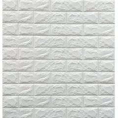 Set 5 x Tapet 3D Autocolant alb, design caramida, rezistent la apa , 70cm x 77cm x 6 mm