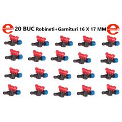 Robineti 20 bucati pentru banda de picurare + Garnituri 16 X 17 MM
