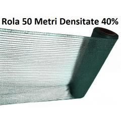 Plasa umbrire 1mx 50m, Densitate 40%, Protectie UV verde