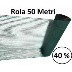 Plasa umbrire 2mx 50m, Densitate 40%, Protectie UV verde