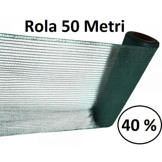 Plasa umbrire, 2m x 50m, Densitate 40%, Protectie UV verde