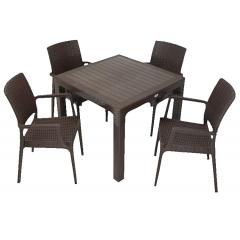 Set mobilier gradina/terasa, masa ratan 90 x 90 cm + 4 scaune ratan, culoarea Maro/Cappucino
