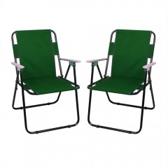 Set 2 scaune pliabile camping, cu cotiere, ASOS, verde, dimensiuni 80 x 48 x 38 cm
