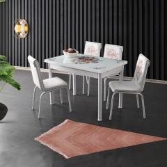 Set masa extensibila Cos cu Flori, Asos Home, MDF acoperit cu sticla cu 4 scaune din piele ecologica