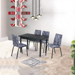 Set masa extensibil Anka, Negru Marmorat, Asos Home, Pal Laminat, 4 scaune din piele ecologica