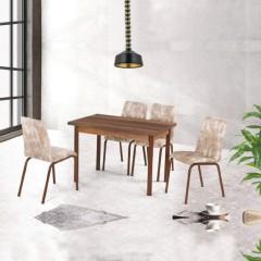 Set masa extensibil Anka, Nuc, Asos Home, Pal Laminat, 4 scaune din piele ecologica
