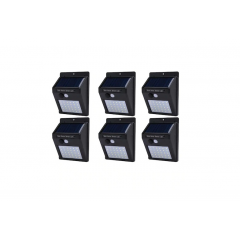 Set format din 6 lampi solare de perete cu senzor de miscare si lumina cu 30 leduri la un pret redus