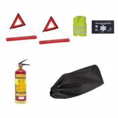 Pachet complet siguranta auto - trusa, 2x triunghiuri omologate E4, stingator, vesta, geanta